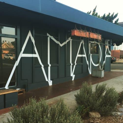 Signage by Leaf Cutter Studio seen at Amara Kitchen, Los Angeles - Storefront Sign