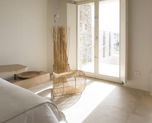Chairs by Kenneth Cobonpue seen at Kenshō Boutique Hotel & Suites, Mykonos Greece, Mykonos, Greece - Yoda Easy Chair