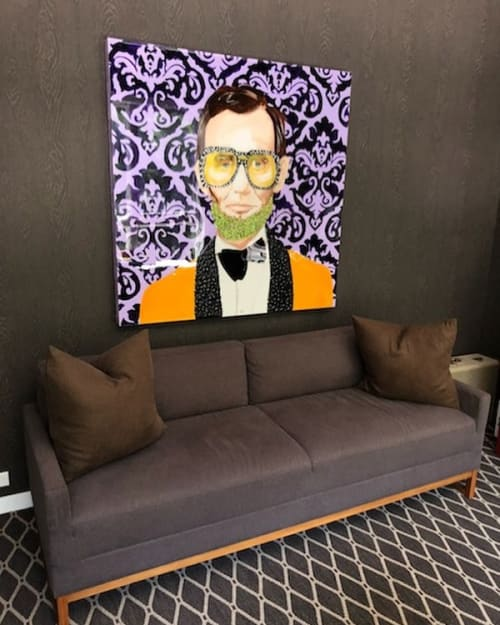 Paintings by Ashley Longshore at New York, New York - Abe With Purple Damask Background And Yellow Suit