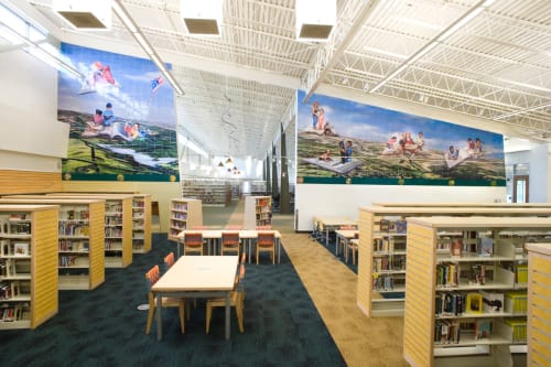 Murals by Jos Sances seen at Castro Valley Library, Castro Valley - Ceramic Tile Mural