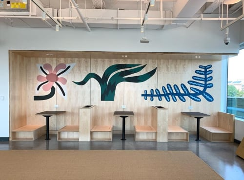 Murals by Sidney Howard seen at WeWork, Raleigh - Wiggly Plant Mural