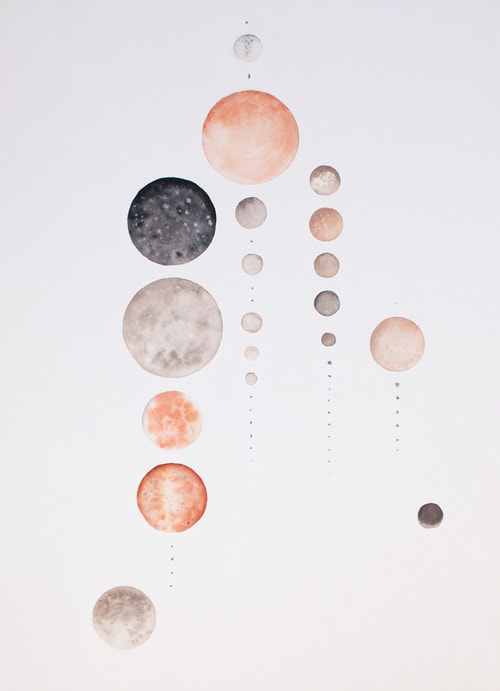 Paintings by Stella Maria Baer seen at The Joshua Tree Casita, Joshua Tree - Artwork - All The Moons Of Our Solar System