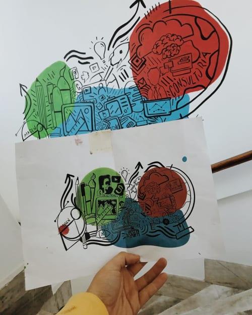 Murals by Marti Fiorentino seen at Cumbre Comunicación Política - Sketch Mural
