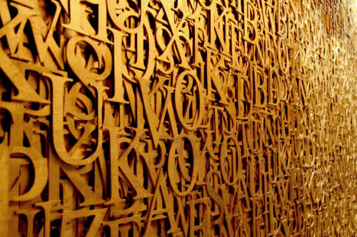 Sculptures by Roy Nachum seen at 1 OAK, West Hollywood - Text on Text