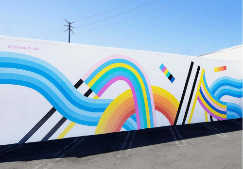 Street Murals by Erin D. Garcia seen at Venice, CA, Los Angeles - Banded Multi-color Elements