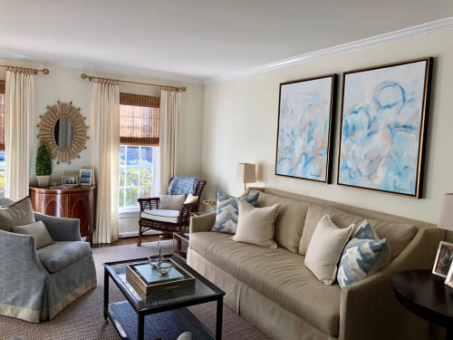 Paintings by Marquin Designs seen at Private Residence, Potomac - Blue Diptych