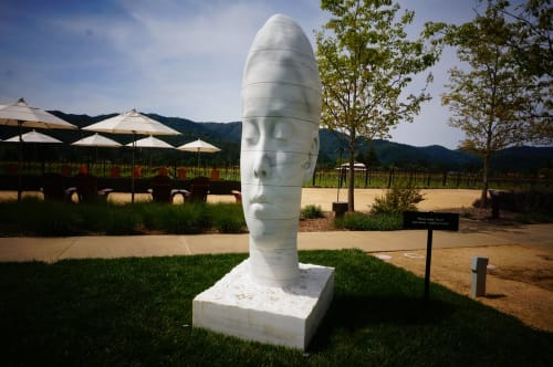 Sculptures by Jaume Plensa seen at HALL Wines, Saint Helena - Sanna Whispering, 2013