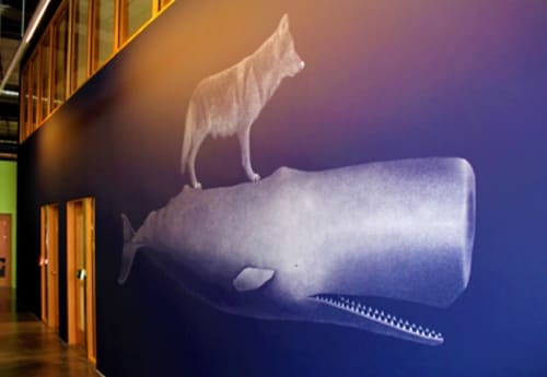 Murals by Masako Miki seen at Facebook HQ, Menlo Park - Wolf Riding on a Whale
