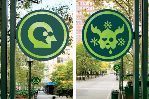 Signage by Ryan McGinness seen at MetroTech Commons, Brooklyn - Equo ne Credite, Teucri