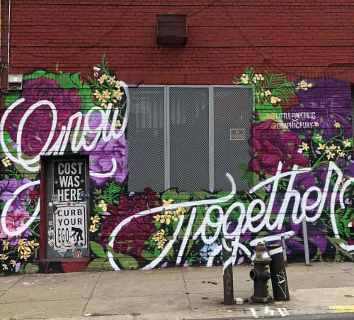 Street Murals by Mika Revell Fine Art X Little Pink Pills seen at The Well, Brooklyn - Grow Together