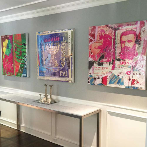 Paintings by Andrew Cotton Art 100% COTTON seen at Private Residence, New York - Israel Stamps