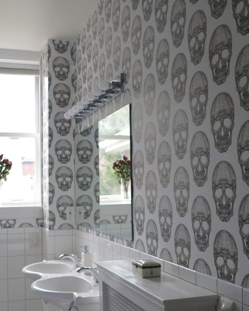 Wallpaper by Candice Kaye Design seen at Private Residence, Toronto - Skull Wallpaper
