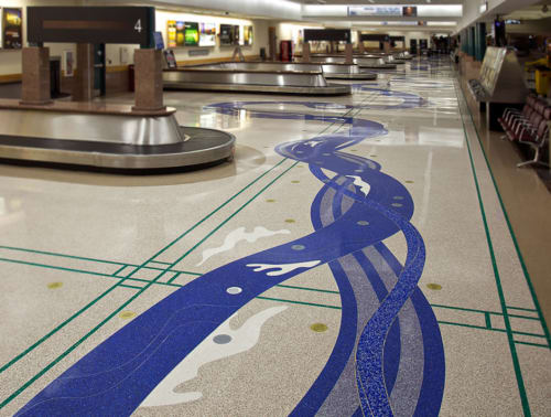 Tiles by Mitsu Overstreet seen at El Paso International Airport, El Paso - River Spirit