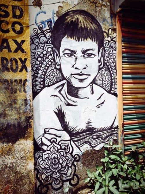Street Murals by Cece Carpio seen at Mumbai, India, Mumbai - Ganges River Offerring