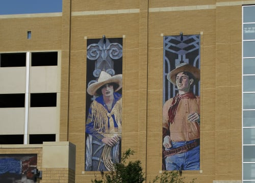 Public Mosaics by Mike Mandel at Will Rogers Memorial Center, Fort Worth, TX, Fort Worth - Western Heritage Parking Garage