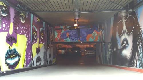 Murals by John Park seen at Blick Art Materials - West Hollywood, CA, Los Angeles - Leaping Gorilla 2014