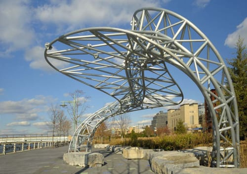 Public Sculptures by Mark Gibian seen at Hudson River Park, Tribeca Segment, New York - Twister