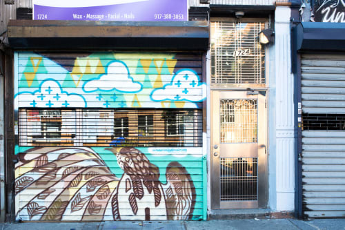 Murals by Jenevieve seen at Opulence Waxing Spa, New York - Broad-winged Hawk