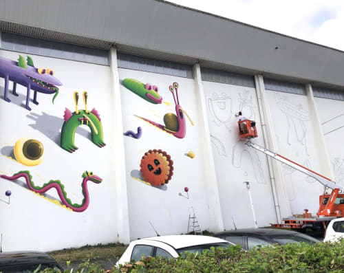 Street Murals by Nicolas Barrome seen at Biarritz, Biarritz - The Race for Colorama Festival
