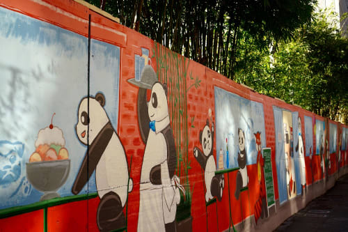 Street Murals by P.M.B.Q. seen at San Jose, CA, San Jose - First Street Panda Cafe & Bakery