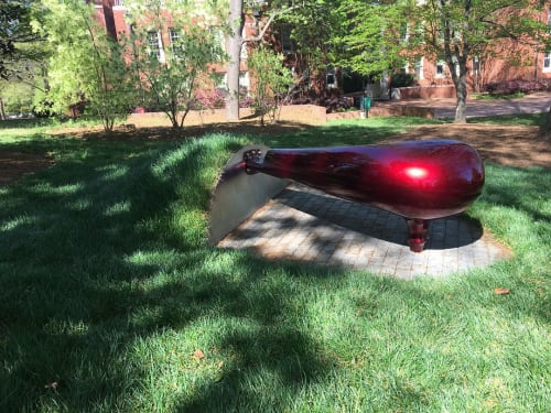 "Benches & Ottomans by Vivian Beer Studio Works seen at Davidson College, Davidson - ""Machined Nature: Anchored Candy no. 9,"""