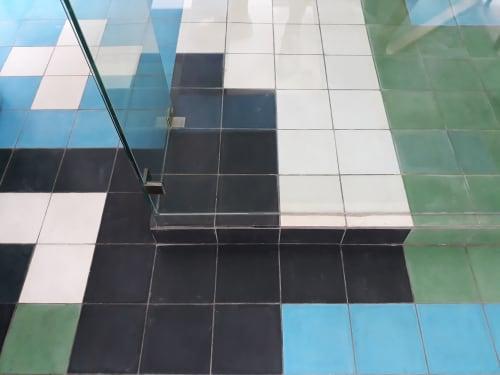 Tetris Bathroom Blue Black Green | Tiles by Renee Rossouw Studio