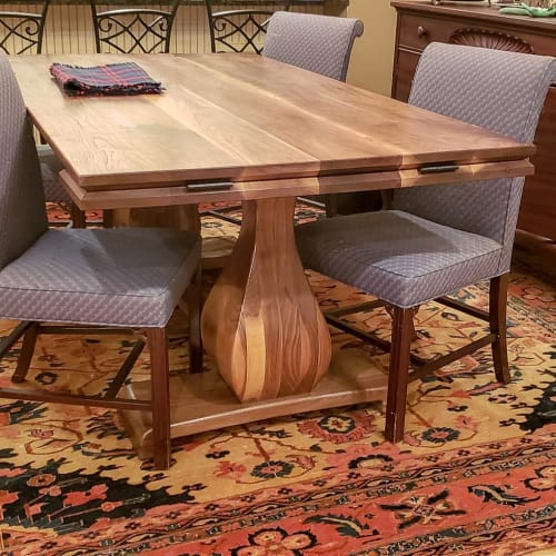 Tables by The Knotty Log seen at Private Residence, Augusta - Walnut Pedestal Table