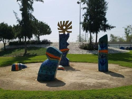 Public Mosaics by Kim Emerson Mosaics seen at Don Knabe Community Regional Park, Cerritos - Water Henge: H20 = Life