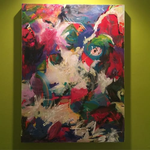 """Paintings by Julie Shunick Brown seen at Katy trail, Dallas - """"Exuberance"""""""