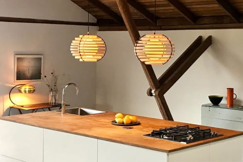 Lamps by Brian Kirk seen at Private Residence, Holte - Moon 40 - Ash Veneer