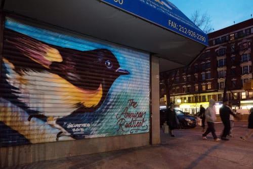 Street Murals by James Alicea seen at 3612 Broadway, New York - American Redstart