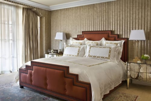 Linens & Bedding by Barbacci seen at Montage Beverly Hills, Beverly Hills - Custom Barbacci Embroidery on Beddings