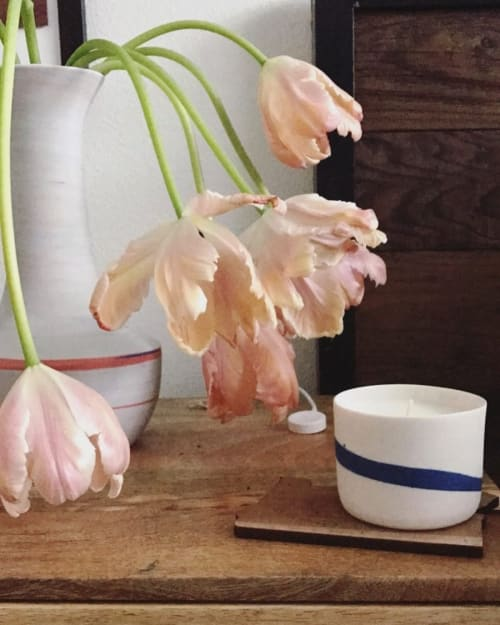 Tableware by Clay Factor Ceramics seen at Private Residence, Portland - Soy Candle