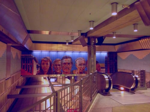 Murals by Richard Wyatt Jr. seen at Los Angeles Union Station, Los Angeles - City of Dreams/River of History