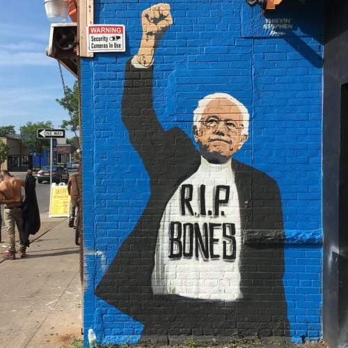 Murals by Thievin' Stephen seen at His & Hers Beauty & Apparel, Rochester - Bernie Sanders Mural