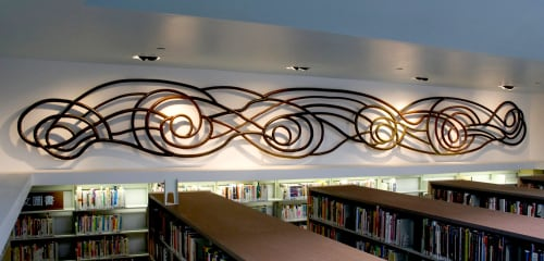 Sculptures by Eric Powell seen at Ingleside Branch Library, San Francisco - Currents