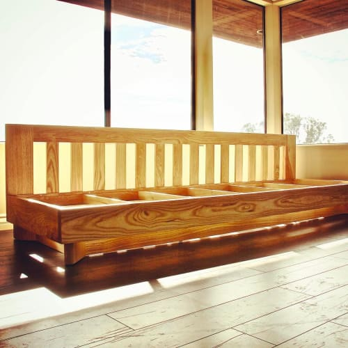 Benches & Ottomans by Keefrider Custom Furniture seen at Private Residence, Santa Barbara - Floating Ash Bench