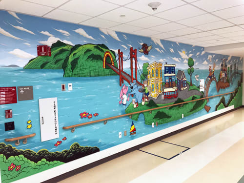 Murals by Sirron Norris seen at Zuckerberg San Francisco General Hospital and Trauma Center, San Francisco - Pediatric Mural