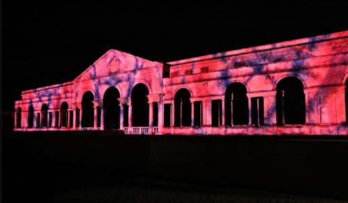 Paintings by Brian Eno seen at Palazzo del Te, Mantova - 77 Million Paintings at Mantua
