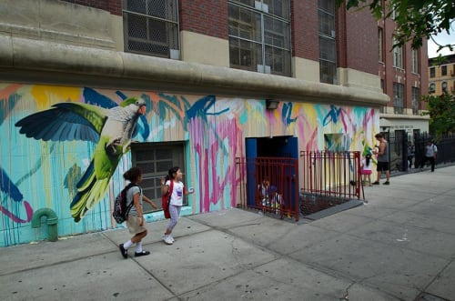 Street Murals by Rowena Martinich seen at Dos Puentes Elementary School, New York - Brooklynk NYC Residency Dos Puentes School