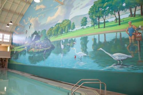Murals by John O. Wehrle seen at Richmond Municipal Natatorium, Richmond - The Plunge