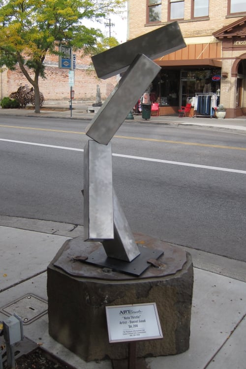 Public Sculptures by Dan Good seen at Sherman Ave & 5th St, Coeur d'Alene ID, Coeur d'Alene - Noto Thistle