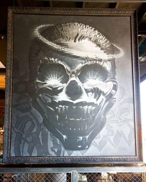 Murals by Chaz Bojorquez seen at Petty Cash Taqueria, Los Angeles - Skull Watching Over the Bar