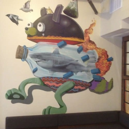 Murals by NoseGo seen at Elixr Coffee Roasters, Philadelphia - Shark in a Bottle