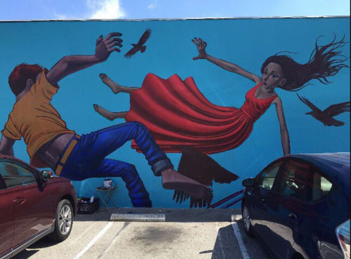 Murals by John Park at Main Street Cafe - El Segundo, CA, El Segundo - Flying or Falling II 2015