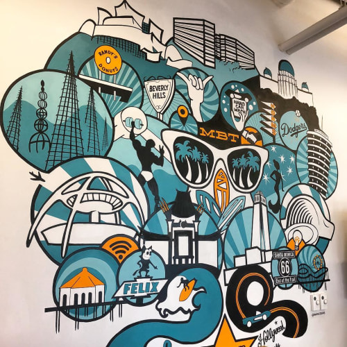 Murals by Vivache Designs at WeWork Manhattan Beach Towers, Manhattan Beach - Custom Wall Mural
