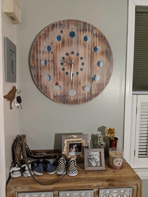 Furniture by All Home Aesthetics seen at Private Residence, Coraopolis - Wood Wall Clock