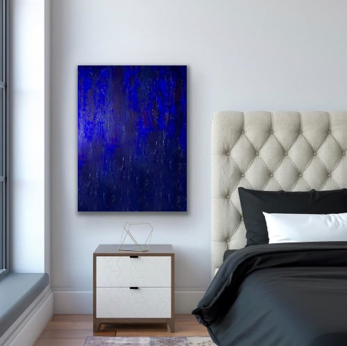 Paintings by Melissa Renee fieryfordeepblue  Art & Design seen at Private Residence, Zürich - Layered in Blue