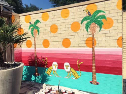 Murals by Drigo seen at Private Residence, Dallas - Oak Cliff: Changos