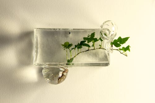 Sculptures by OffCentre seen at 1 Hotel Brooklyn Bridge, Brooklyn - Glass Brick Terrariums